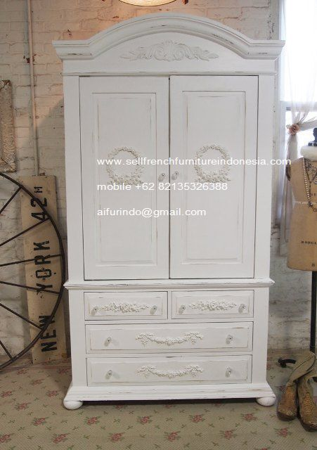 French Armoire White Painted   French Duco Furniture Indonesia